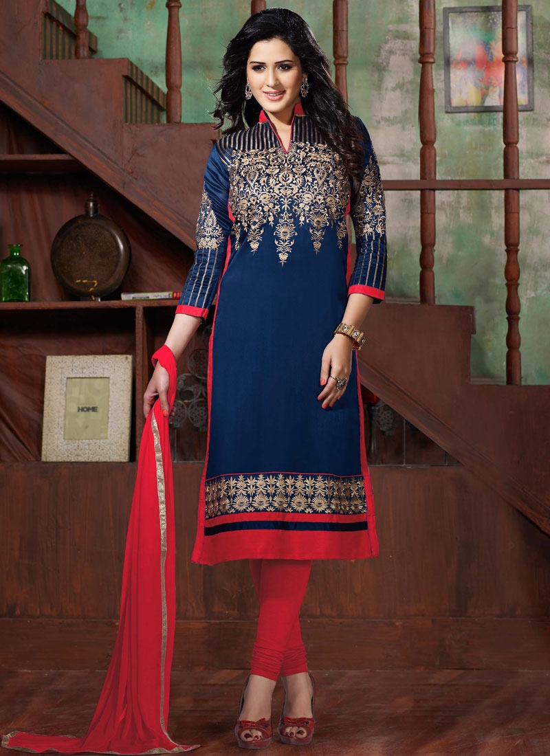 Distinctive Bhagalpuri Silk Churidar Salwar Kameez