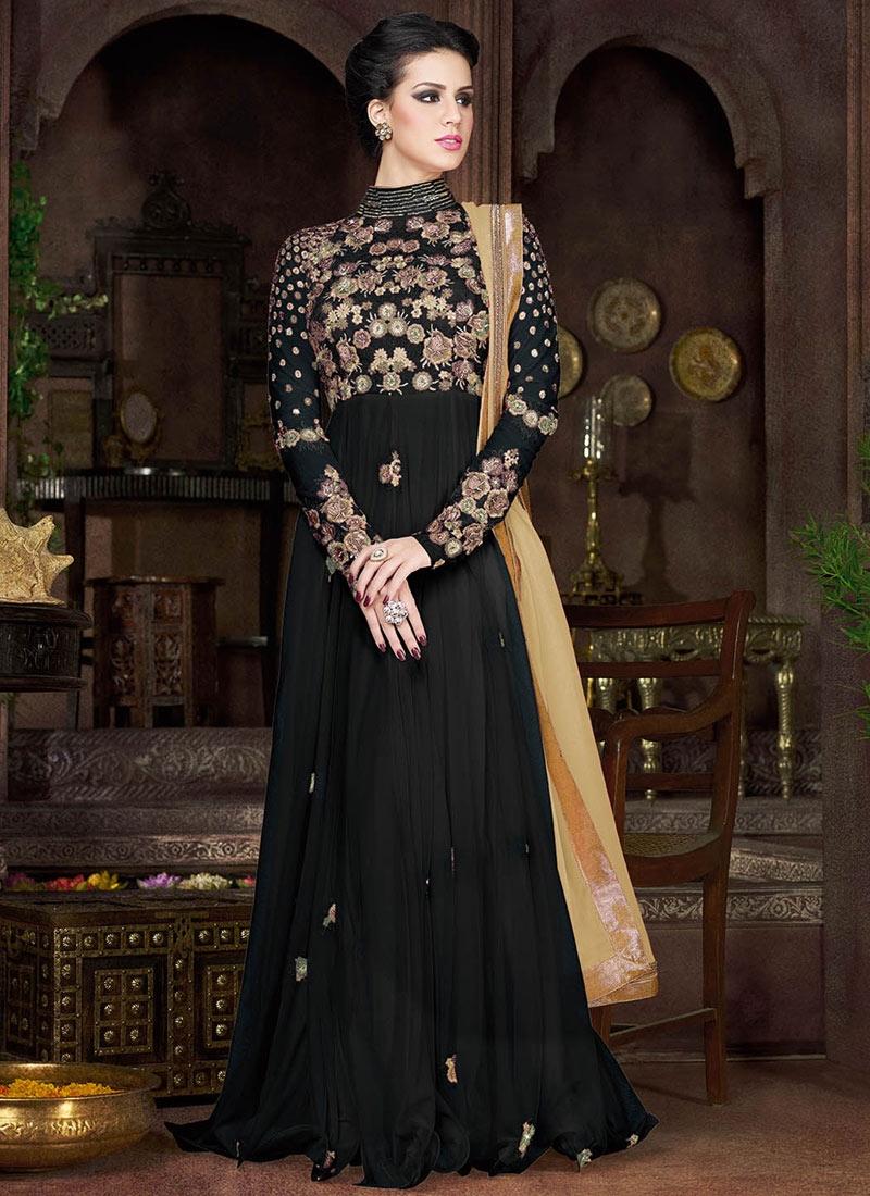 DistinctiveBlack Color Net Floor Length Designer Salwar Kameez