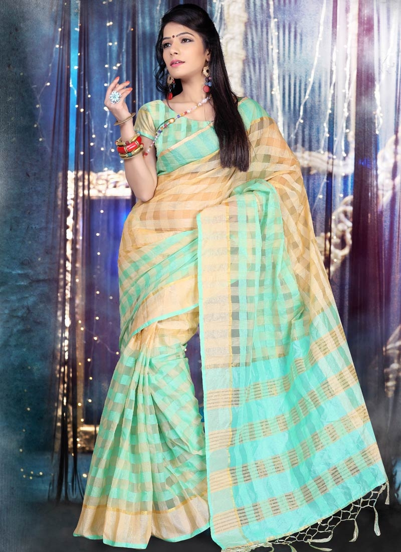 Distinctive Cotton Turquoise Color Casual Saree