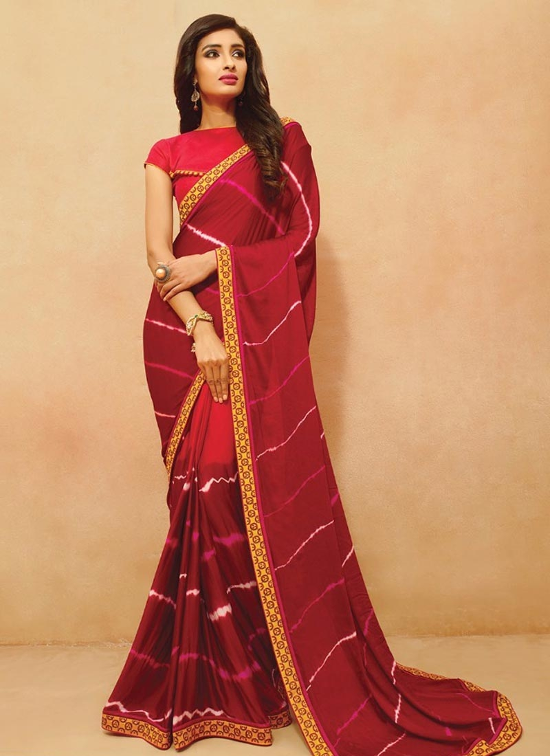 Distinctive Crimson And Red Color Party Wear Saree