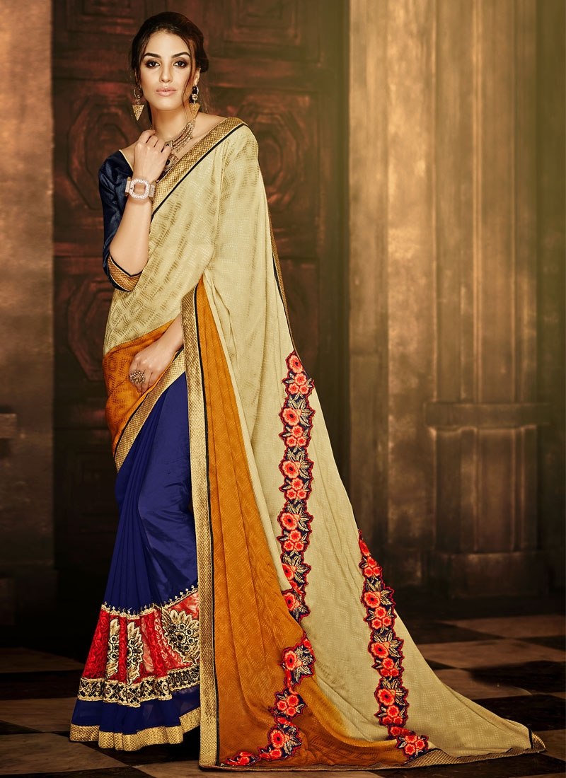 Distinctive Faux Georgette Half N Half Party Wear Saree