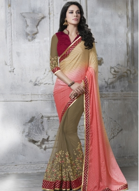 Distinctive Jacquard And Net Half N Half Designer Saree