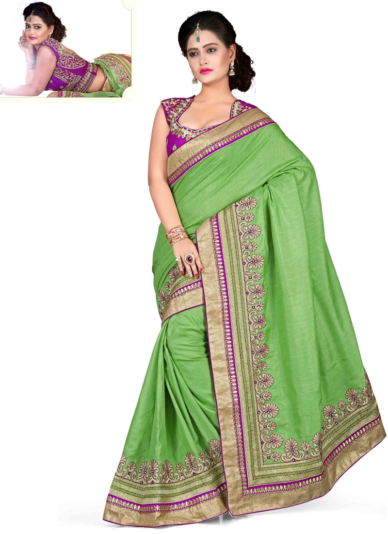 Distinctive Lace And Resham Work Silk Designer Saree