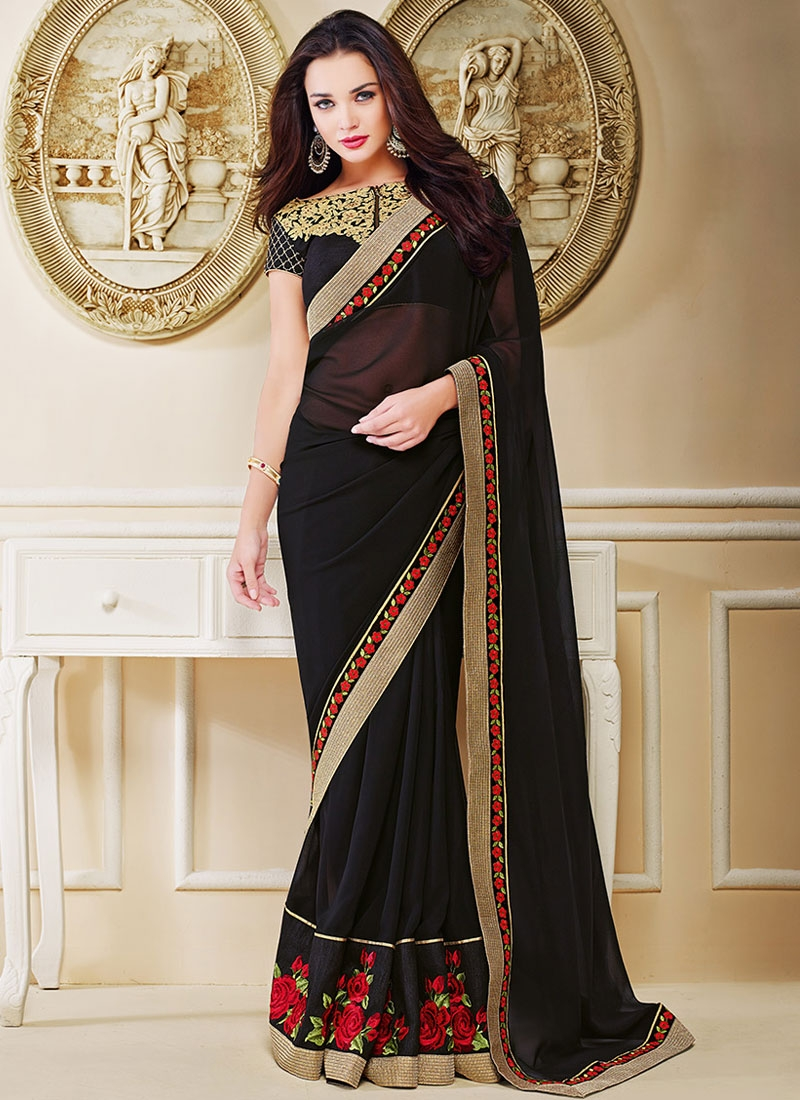 Distinctive Patch Border Work Amy Jackson Party Wear Saree