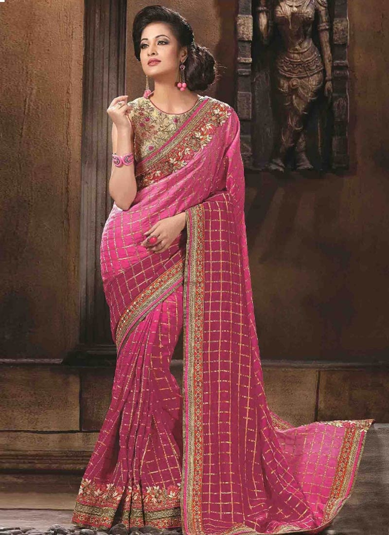 Distinctive Patch Border Work Fuchsia Color Designer Saree
