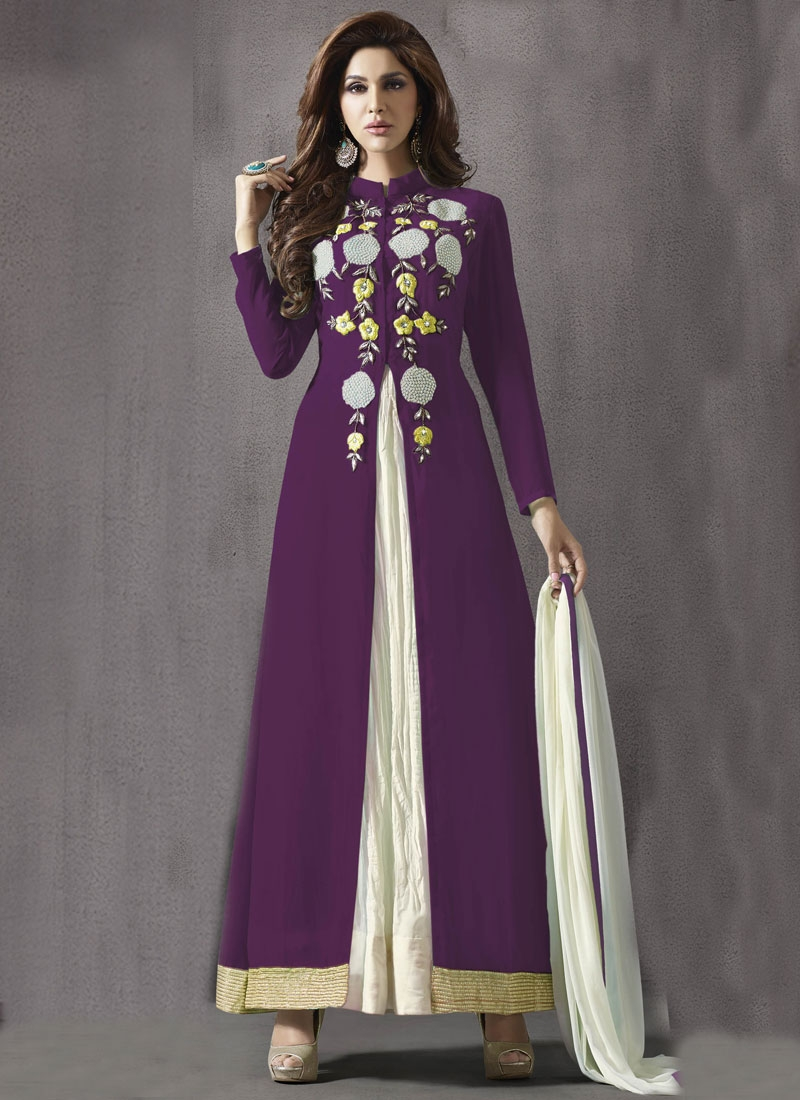 Distinctive Purple Color Faux Georgette Ankle Length Designer Salwar Suit