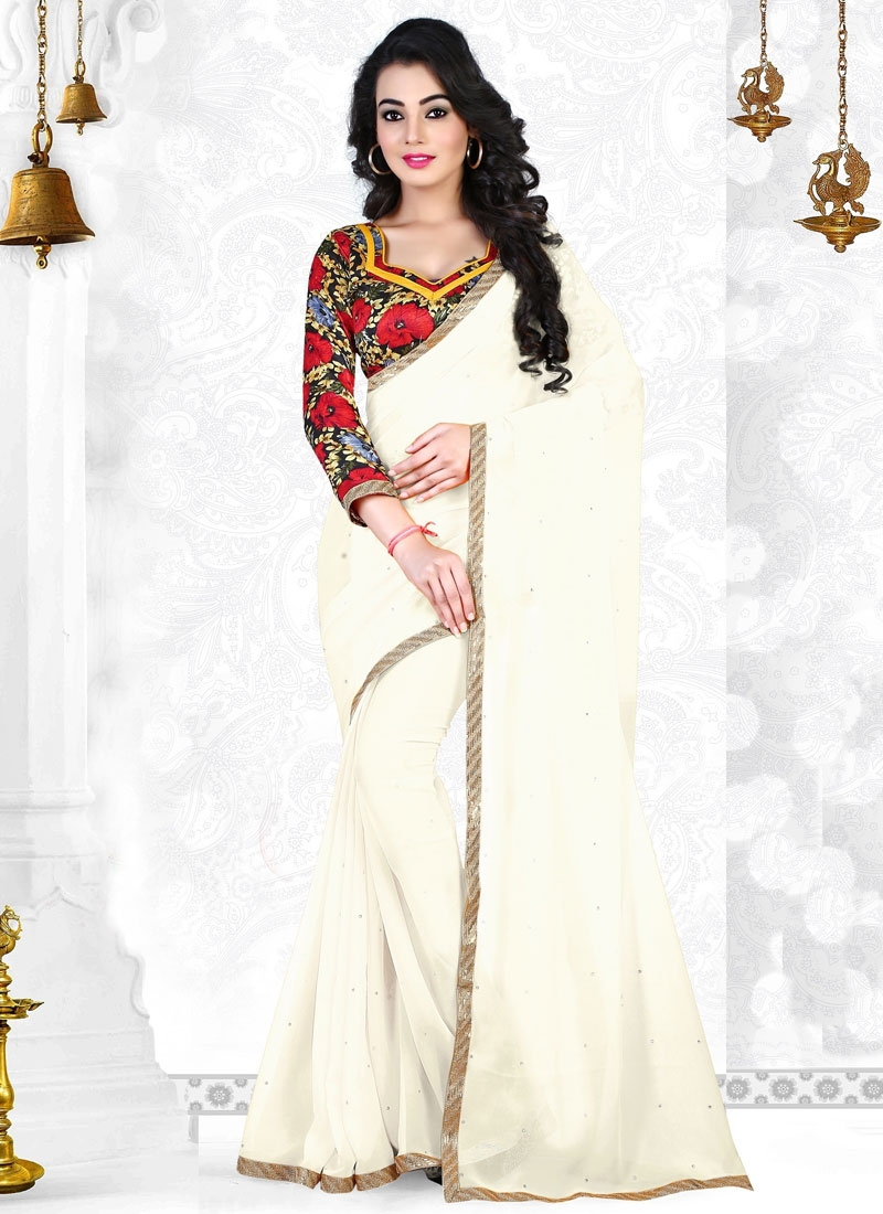 Distinctive Resham And Lace Work Casual Saree