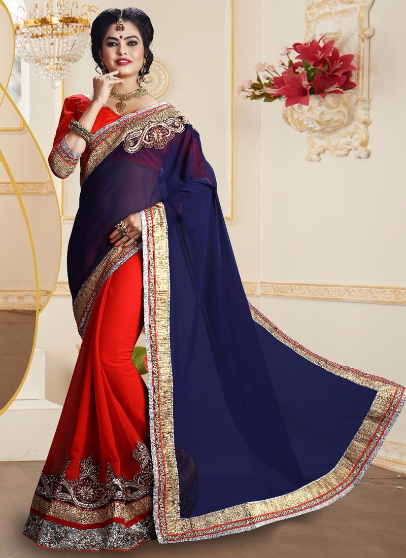 Distinctive Patch Border Work Half N Half Party Wear Saree