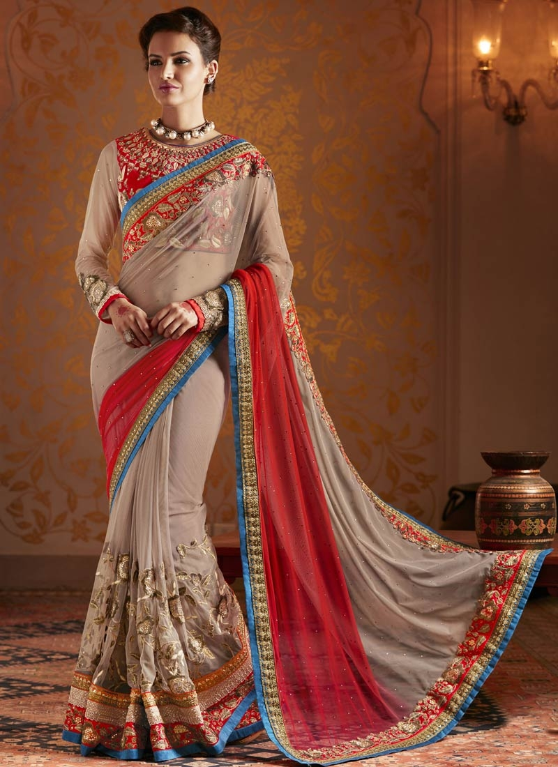 Distinctive Sequins And Stone Work Wedding Saree