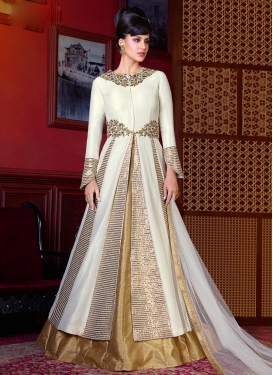 Distinctively Banglori Silk Gold and White Designer Kameez Style Lehenga Choli