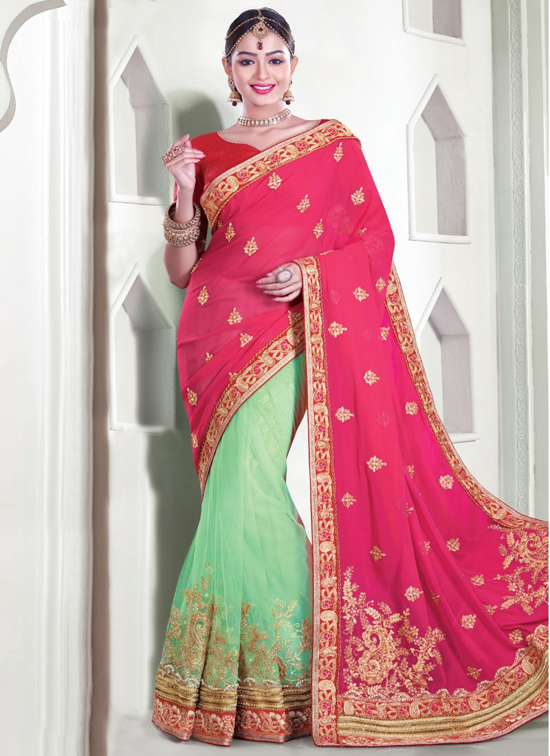 Distinctively Beads And Lace Work Half N Half Wedding Saree
