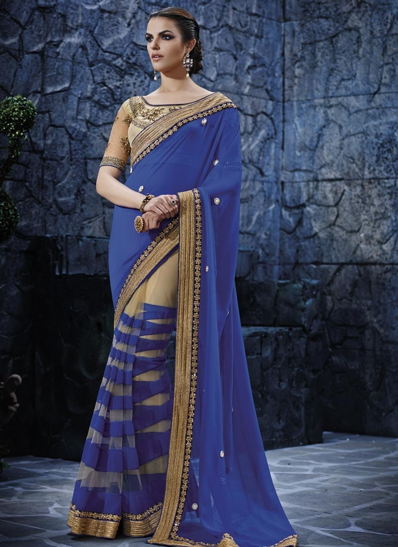 Distinctively Beads Work Half N Half Designer Saree