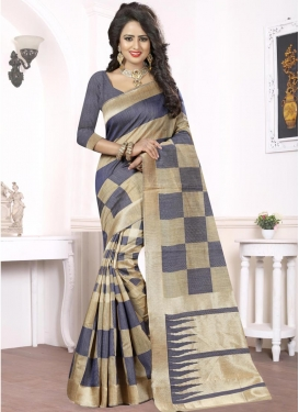 Distinctively Beige and Grey Trendy Saree For Ceremonial