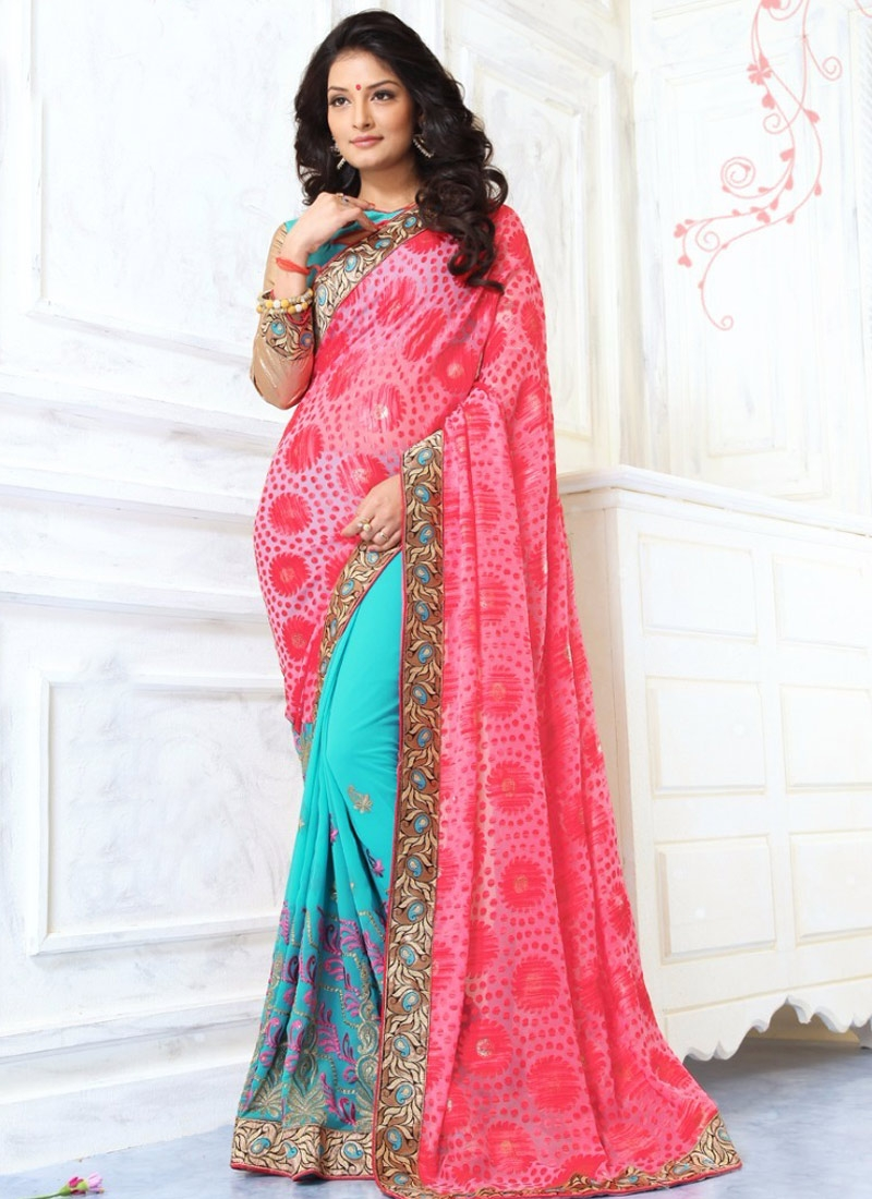 Distinctively Brasso Georgette Half N Half Party Wear Saree