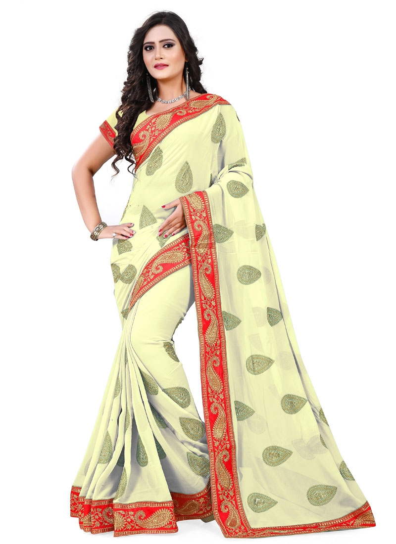 Distinctively Cream Color Faux Georgette Party Wear Saree