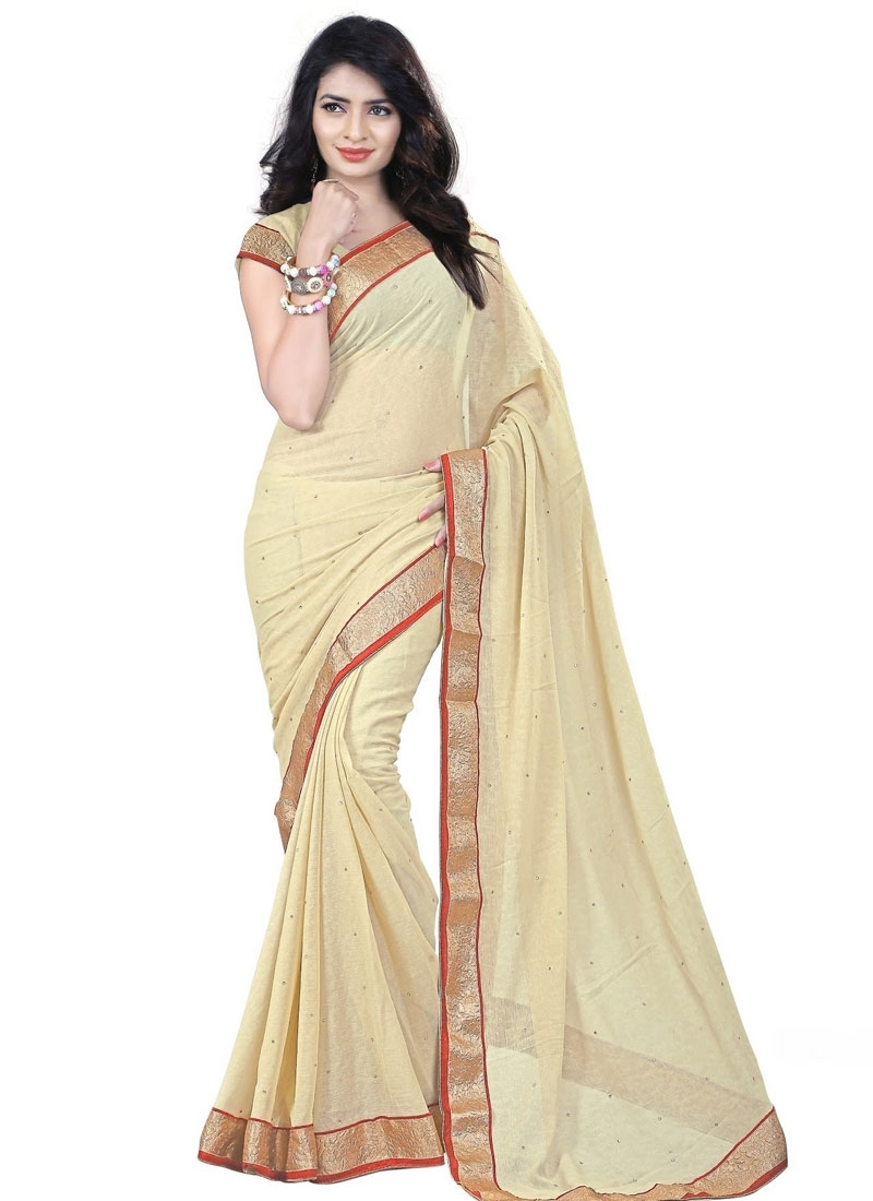Distinctively Cream Color Lace Work Casual Saree