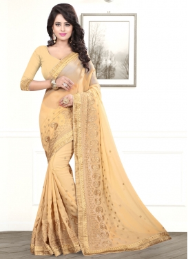 Distinctively Cream Color Resham Work Party Wear Saree