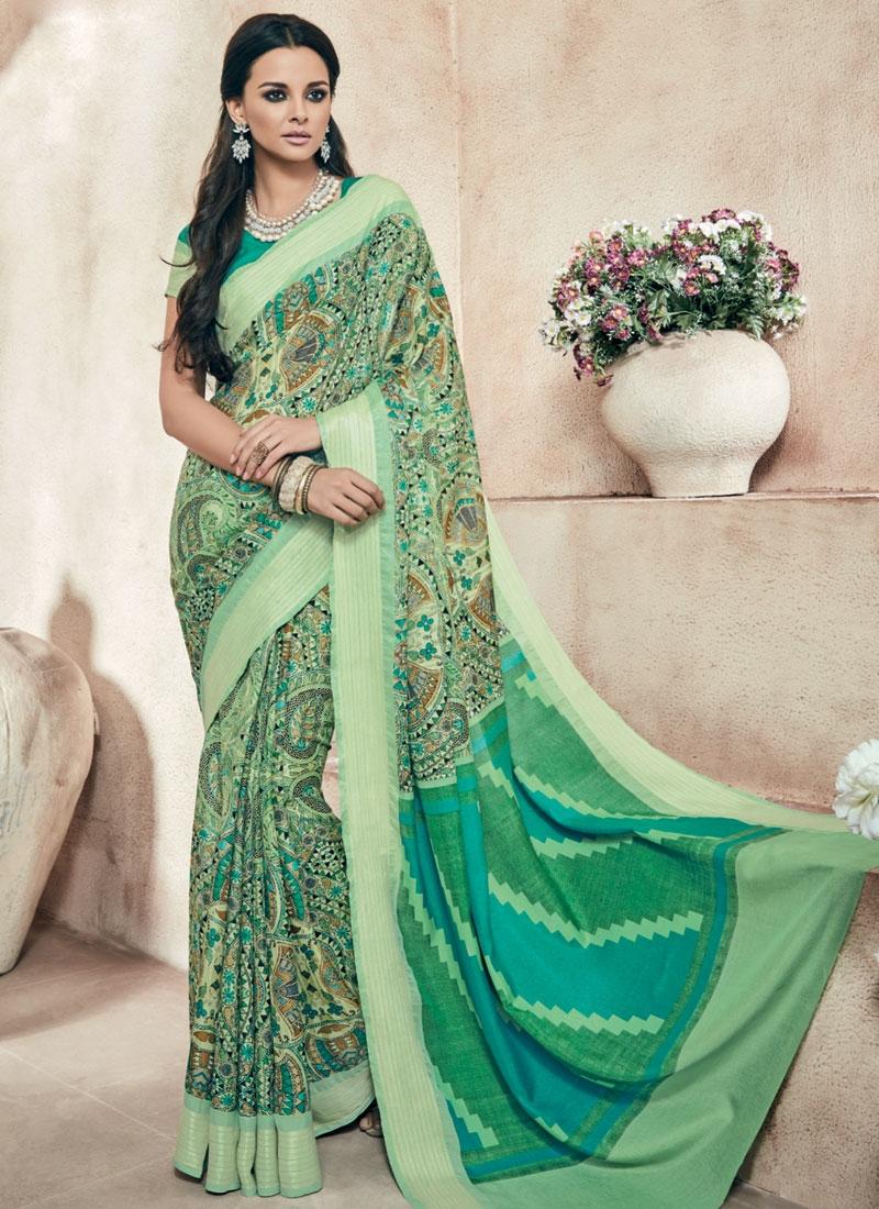 Distinctively Digital Print Work Art Silk Casual Saree