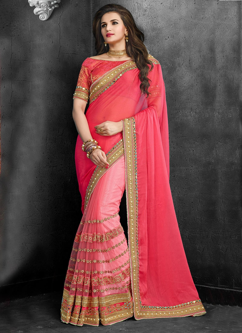 Distinctively Embroidery And Beads Work Half N Half Wedding Saree