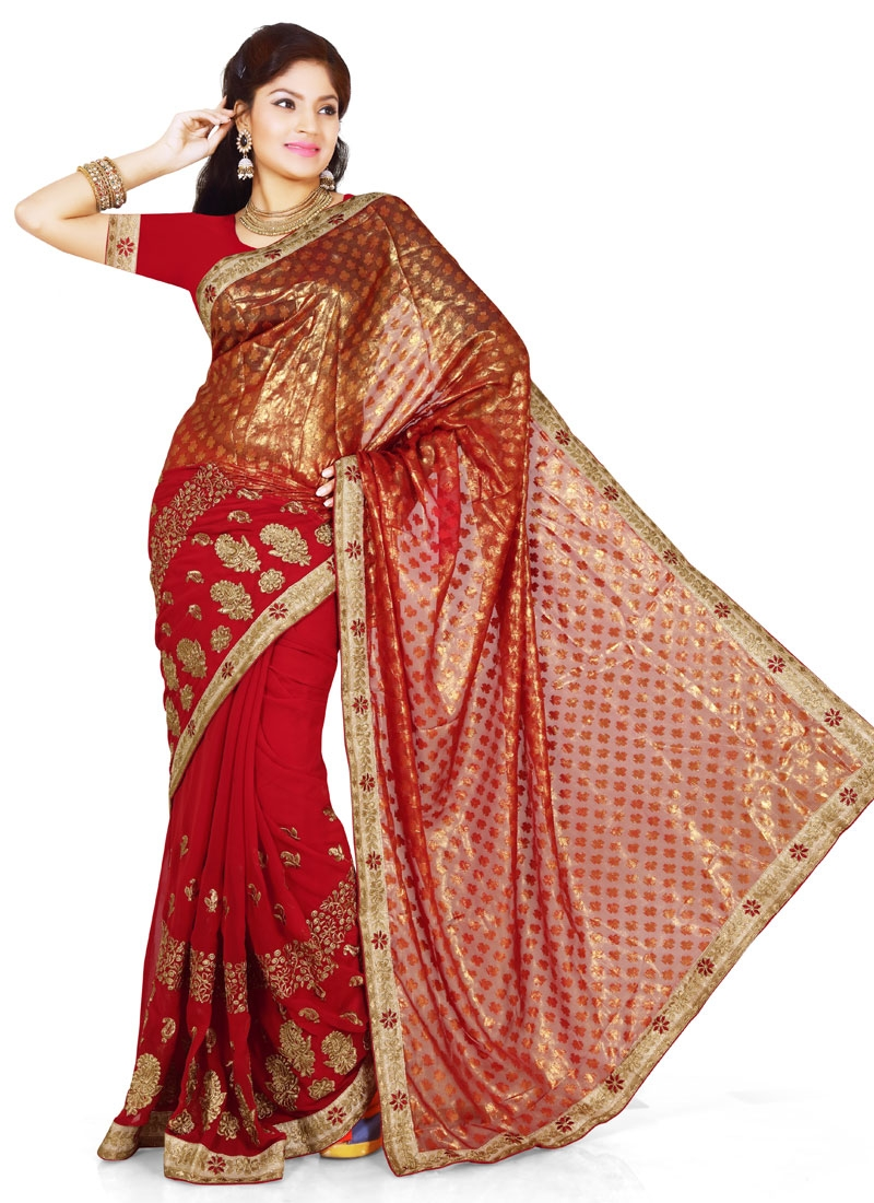 Distinctively Embroidery Work Party Wear Saree