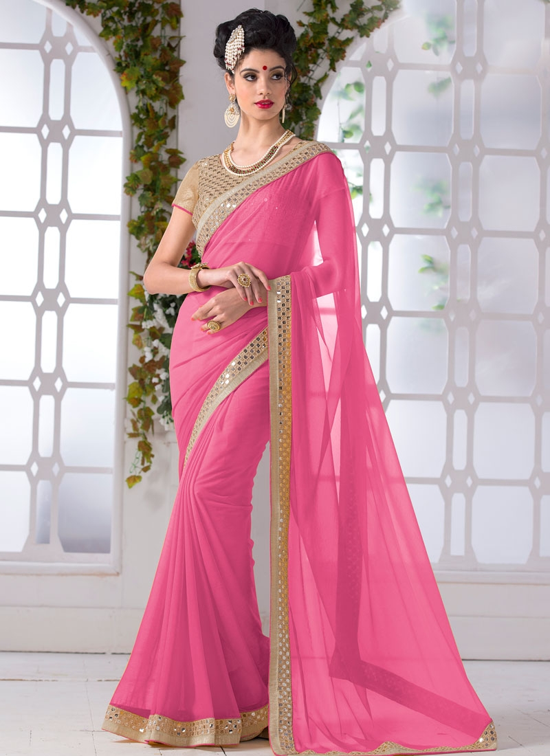 Distinctively Faux Chiffon Resham Work Casual Saree