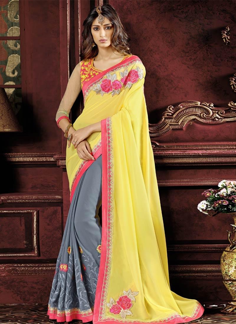Distinctively Floral Work Half N Half Party Wear Saree