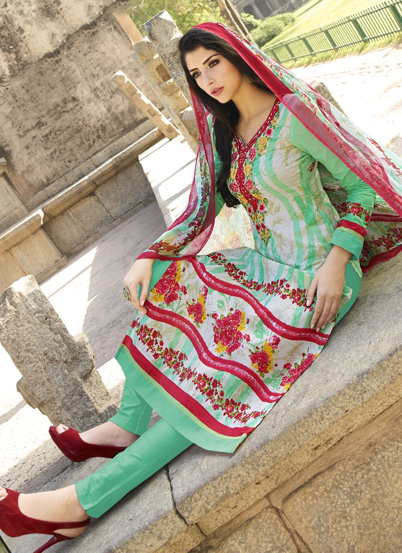 Distinctively Floral Work Pant Style Party Wear Salwar Suit