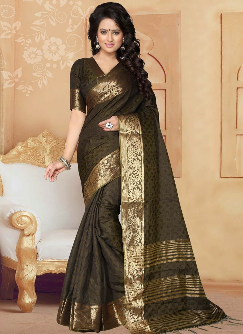 Distinctively Grey And Olive Color Casual Saree