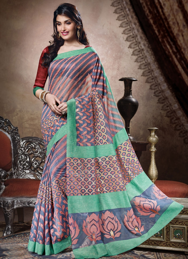 Distinctively Grey Color Art Silk Casual Saree
