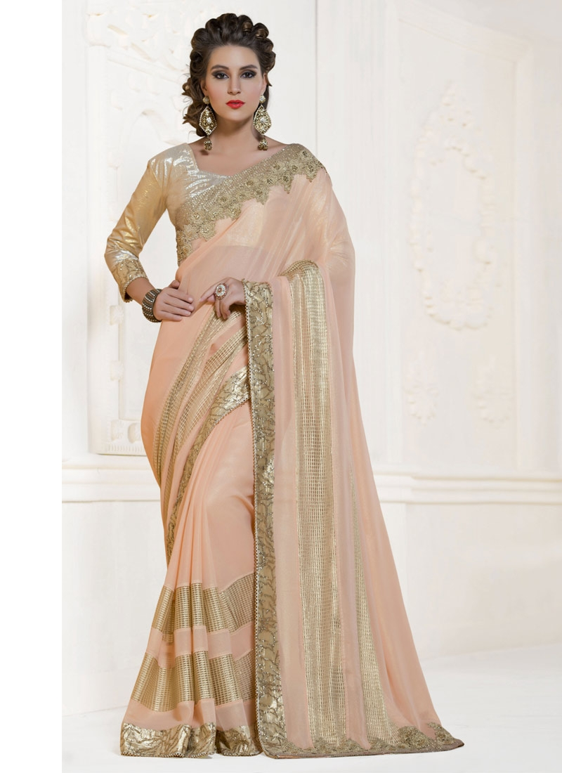 Distinctively Lace And Beads Work Party Wear Saree