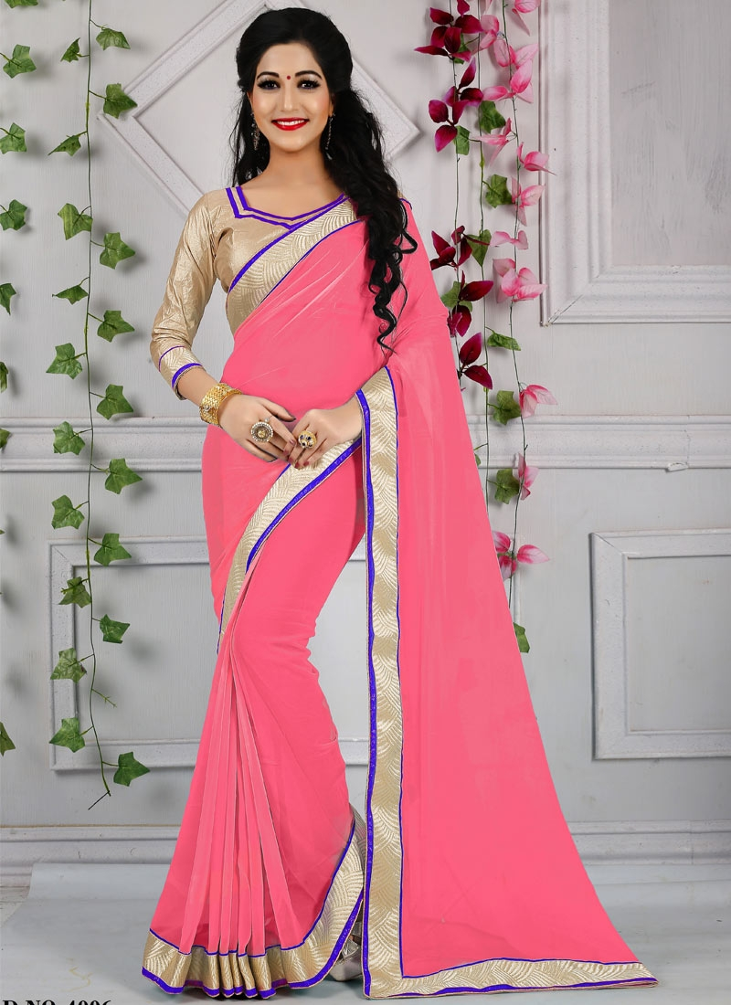 Distinctively Lace And Resham Work Casual Saree