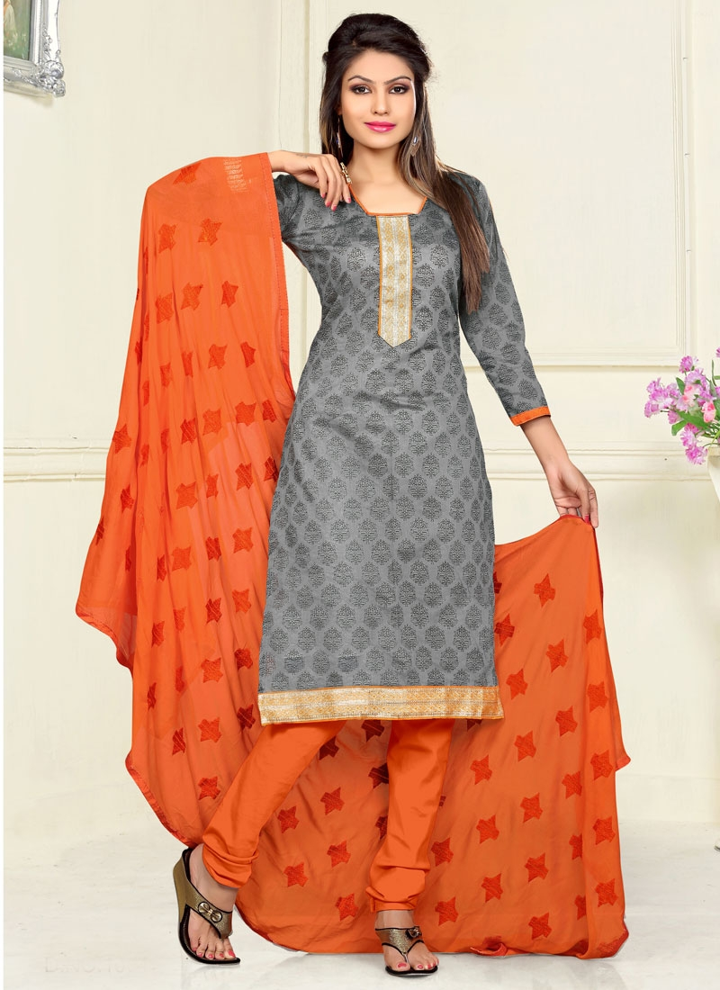 Distinctively Lace Work Grey Color Casual Suit