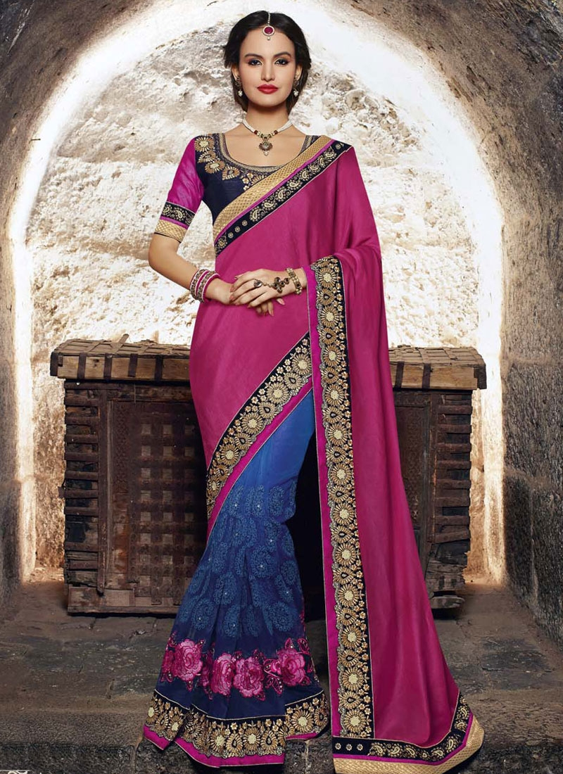 Distinctively Magenta Color Satin Wedding Saree
