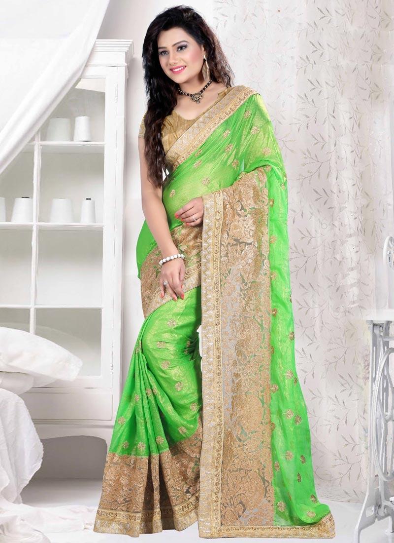Distinctively Mint Green Color Chiffon Satin Designer Saree