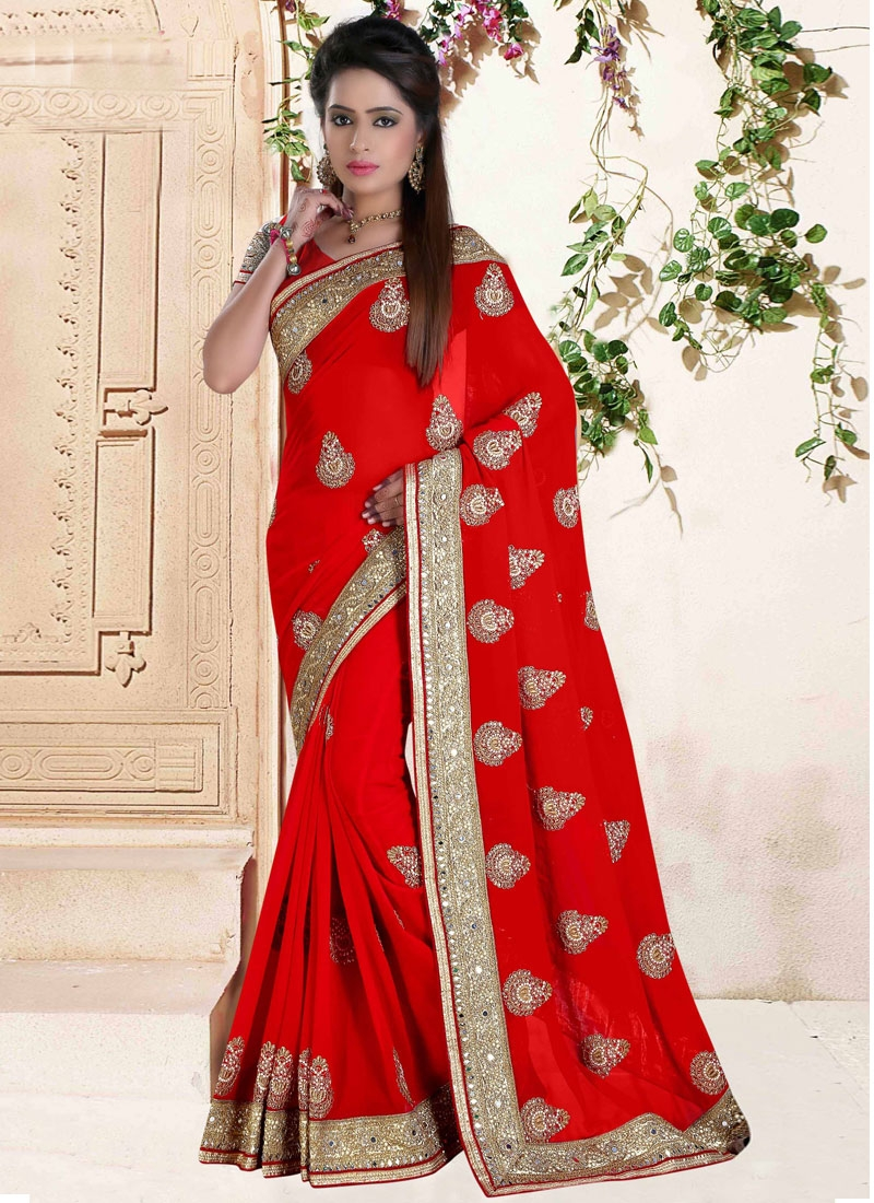 Distinctively Mirror And Booti Work Wedding Saree