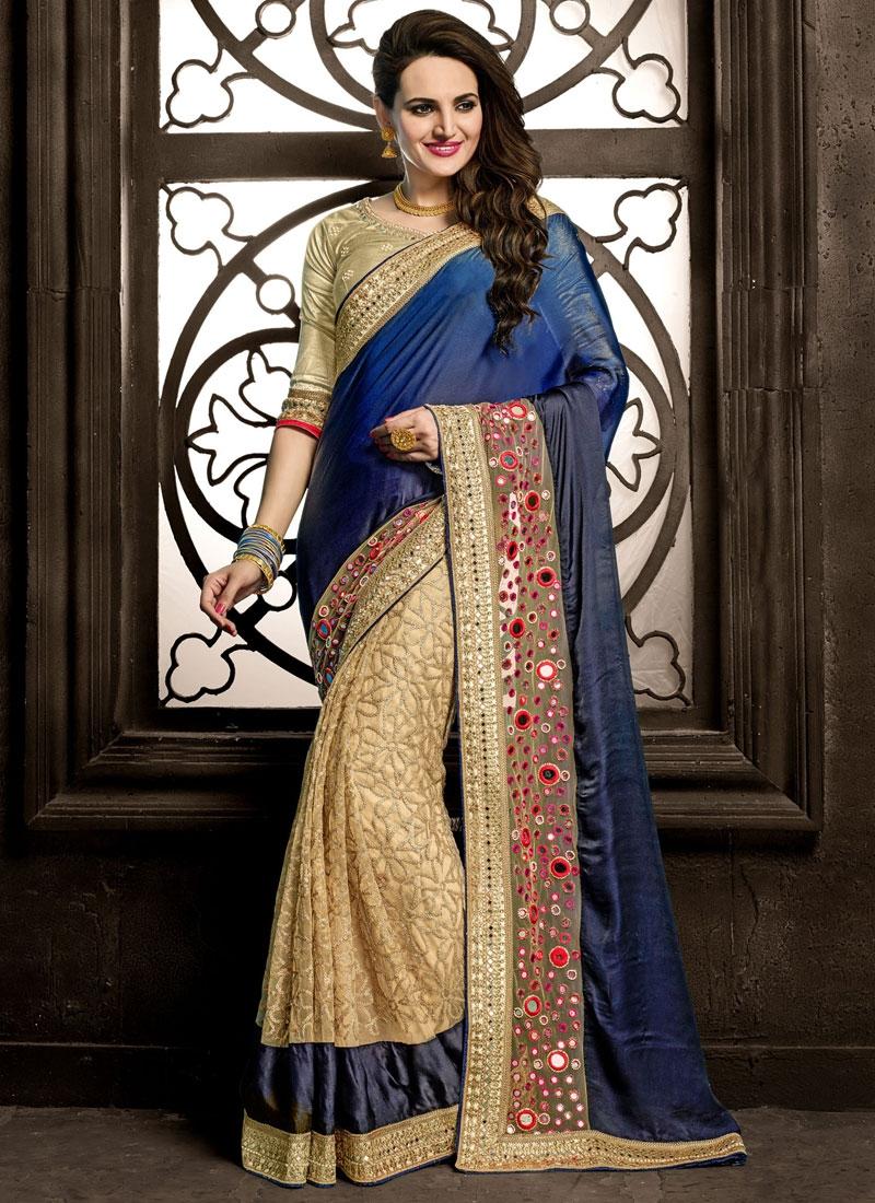 Distinctively Mirror And Lace Work Half N Half Wedding Saree
