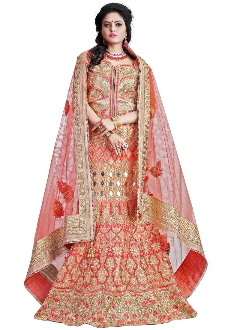 Distinctively Mirror And Resham Work Bridal Lehenga Choli