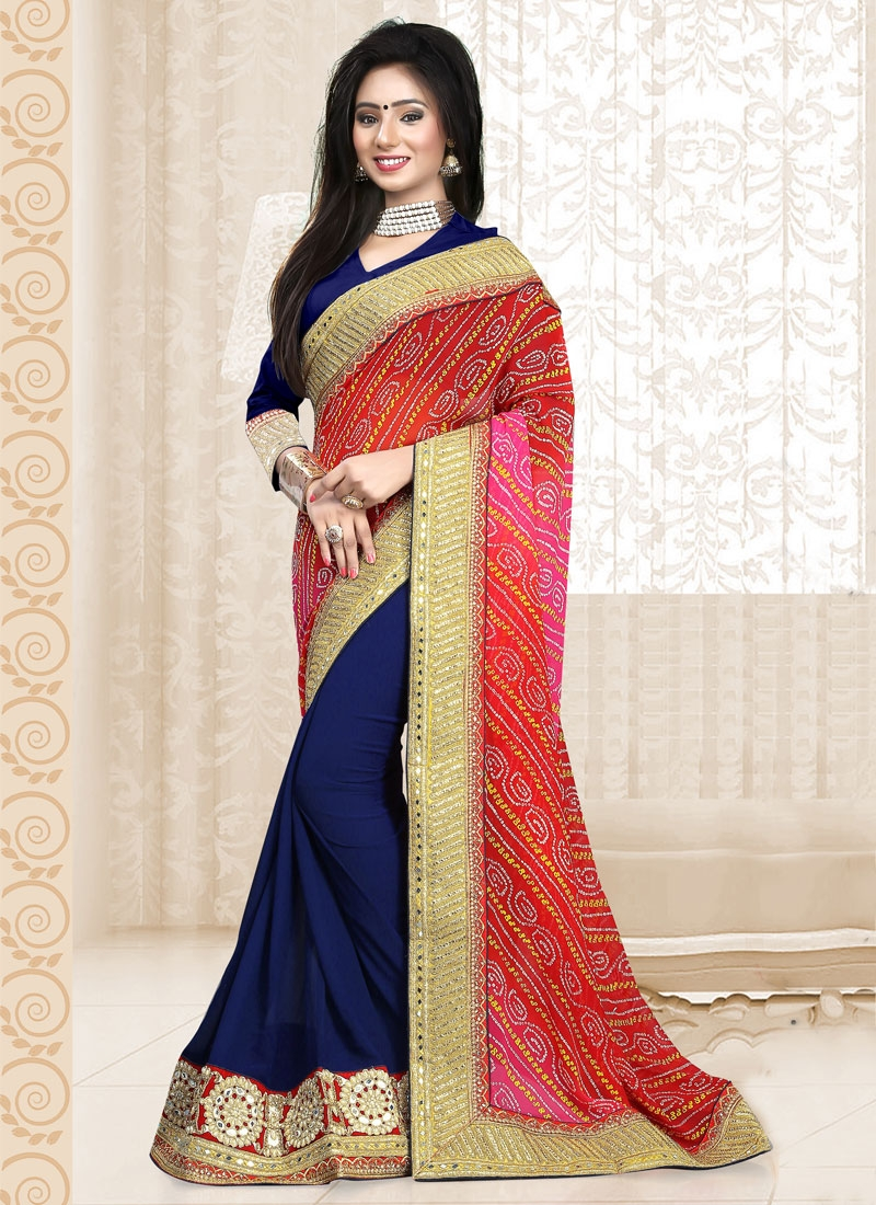 Distinctively Mirror Work Half N Half Designer Saree