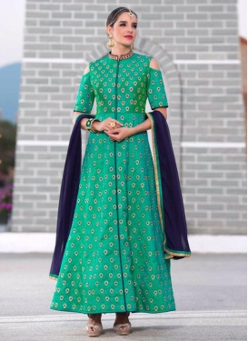 Distinctively Multi Work Silk Long Length Designer Suit For Festival