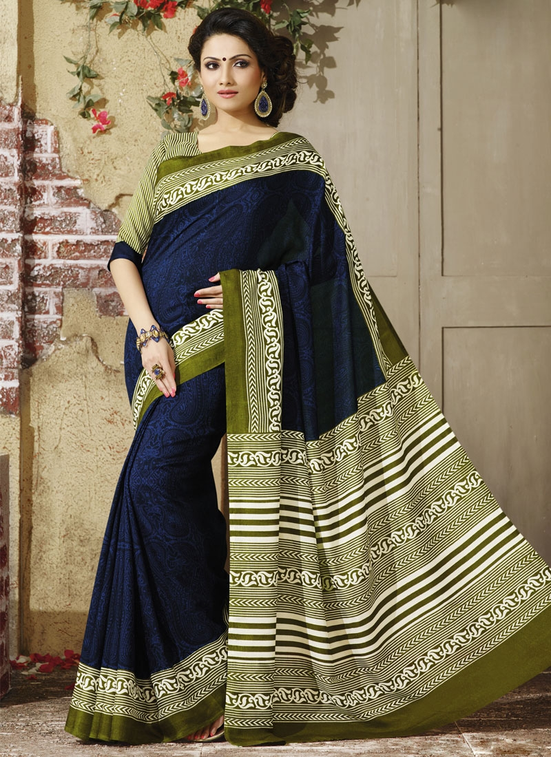 Distinctively Navy Blue And Olive Color Casual Saree