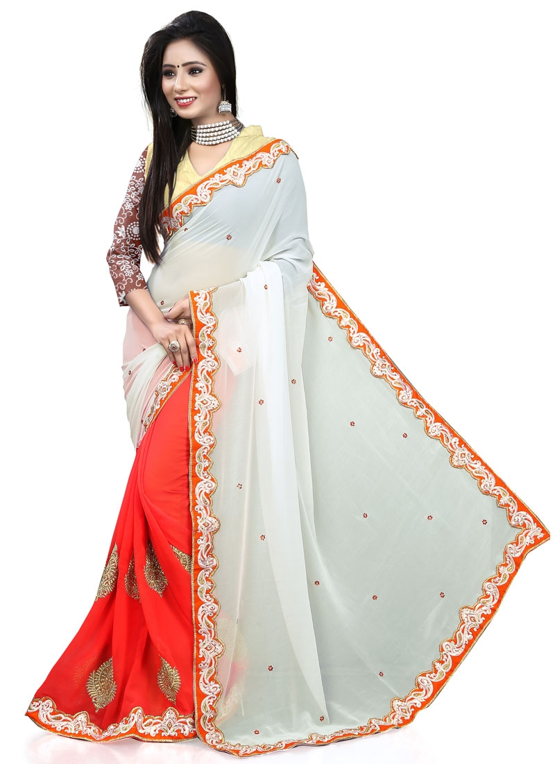 Distinctively Off White Color Stone Work Half N Half Party Wear Saree