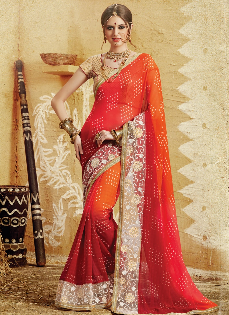 Distinctively Patch Border And Bandhej Print Work Party Wear Saree
