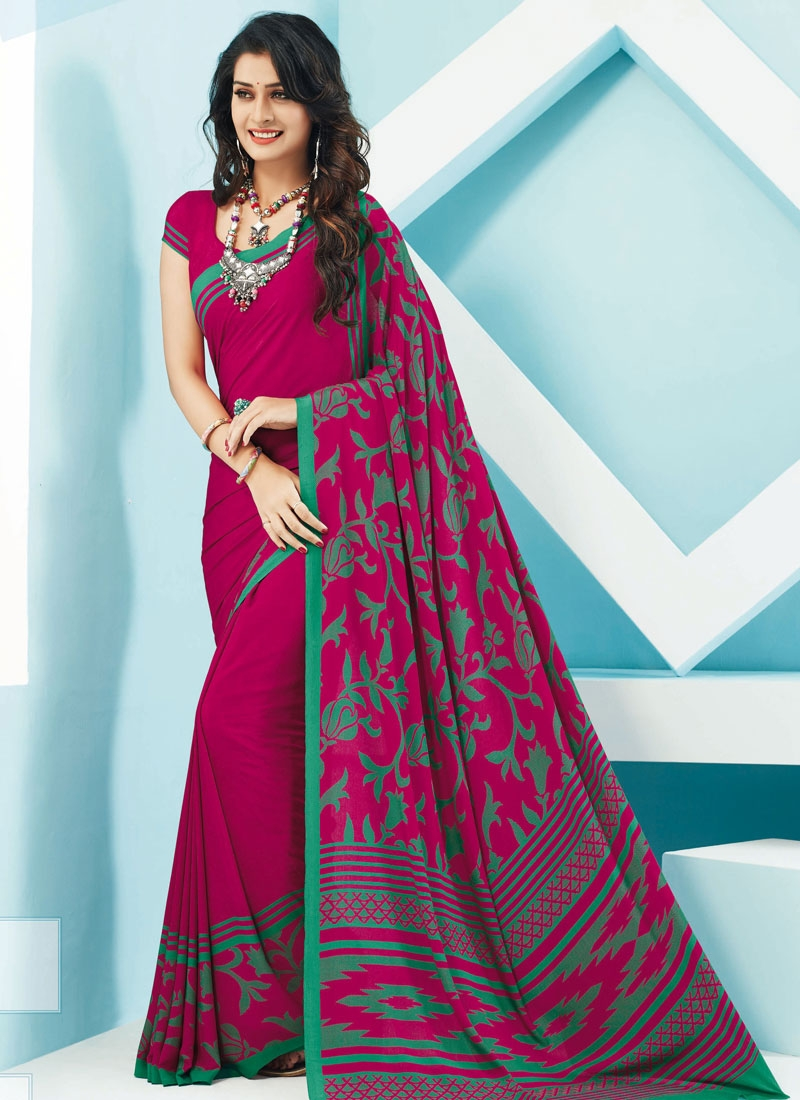 Distinctively Printed Crepe Silk Casual Saree