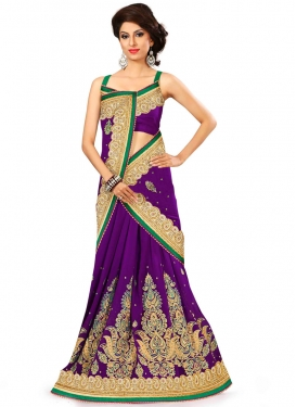 Distinctively Purple Color Pure Georgette Designer Saree