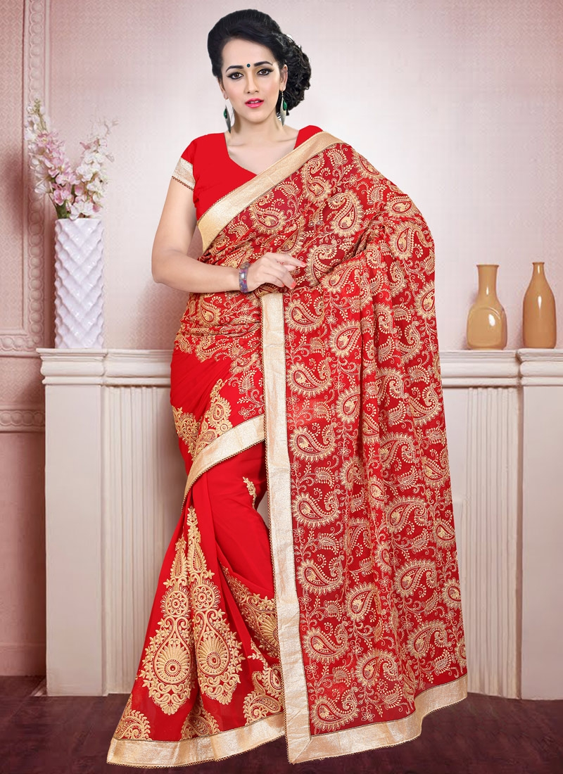 Distinctively Red Color Booti Work Wedding Saree