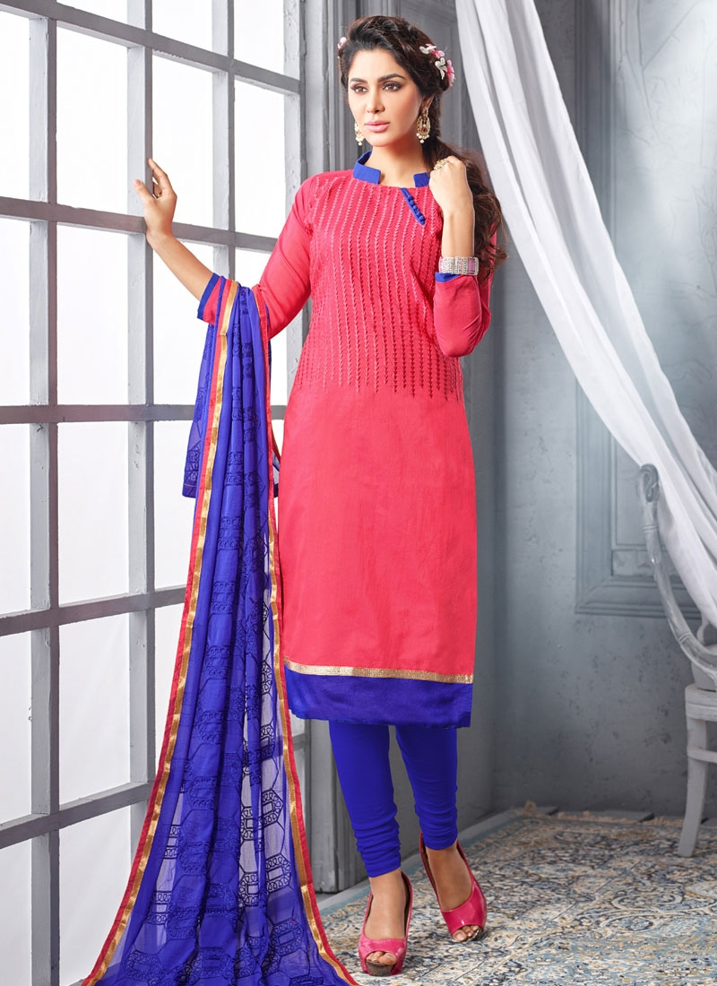 Distinctively Resham And Lace Work Casual Suit