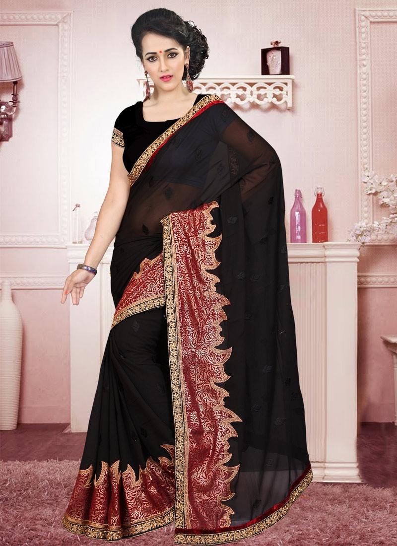 Distinctively Resham Work Black Color Casual Saree