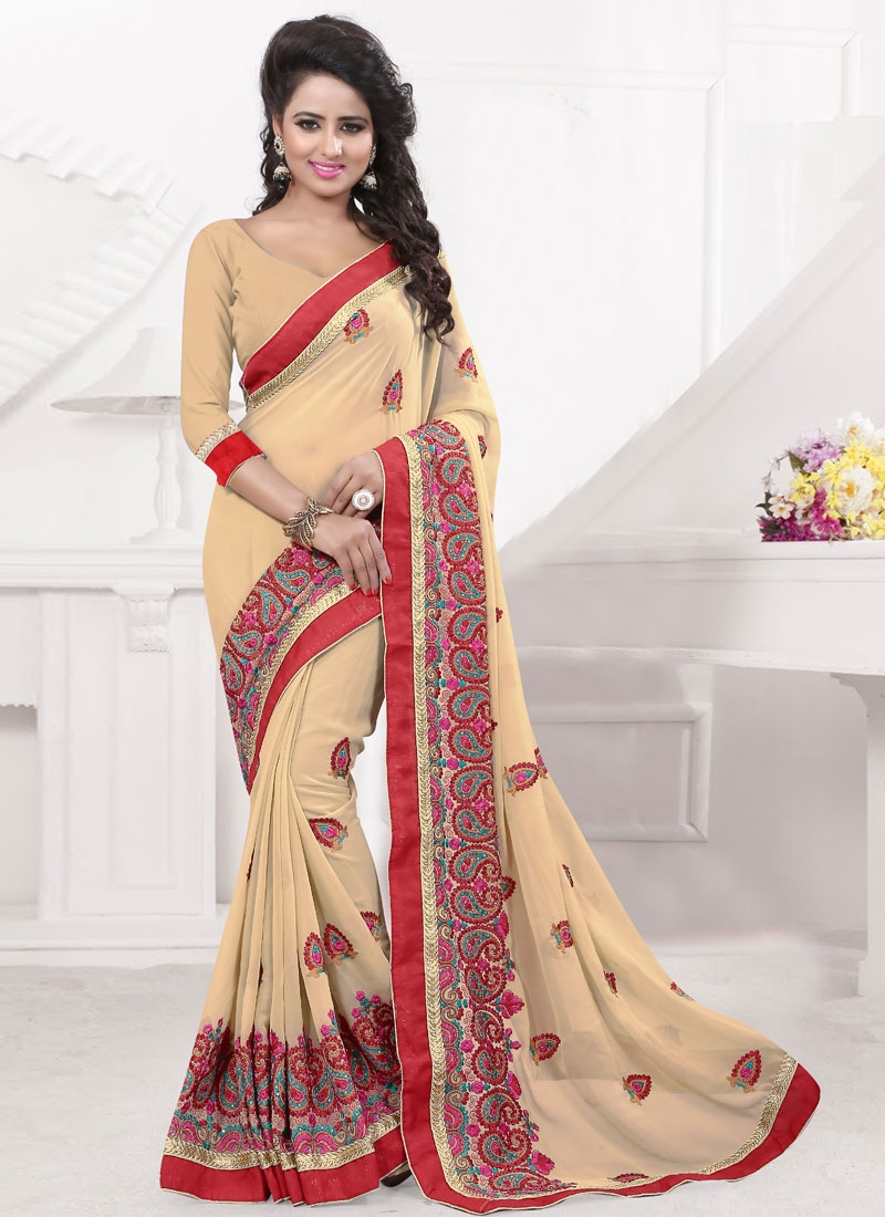Distinctively Resham Work Cream Color Designer Saree