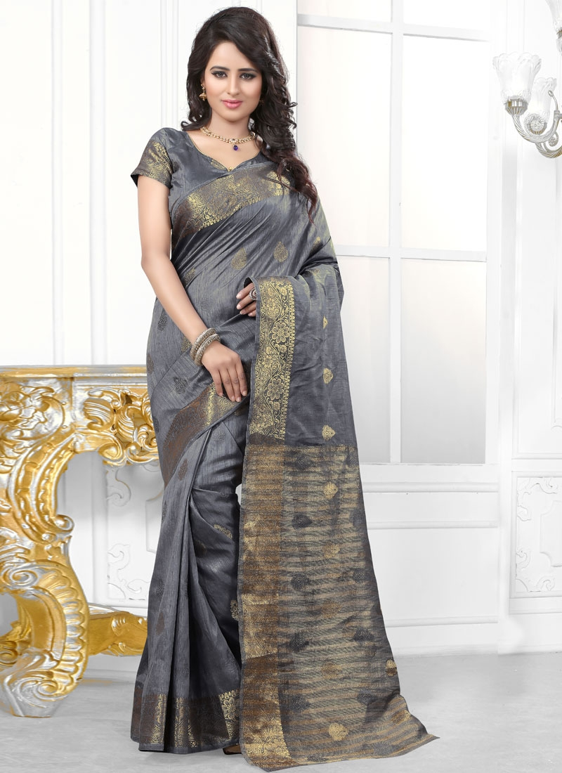 Distinctively Resham Work Grey Color Party Wear Saree