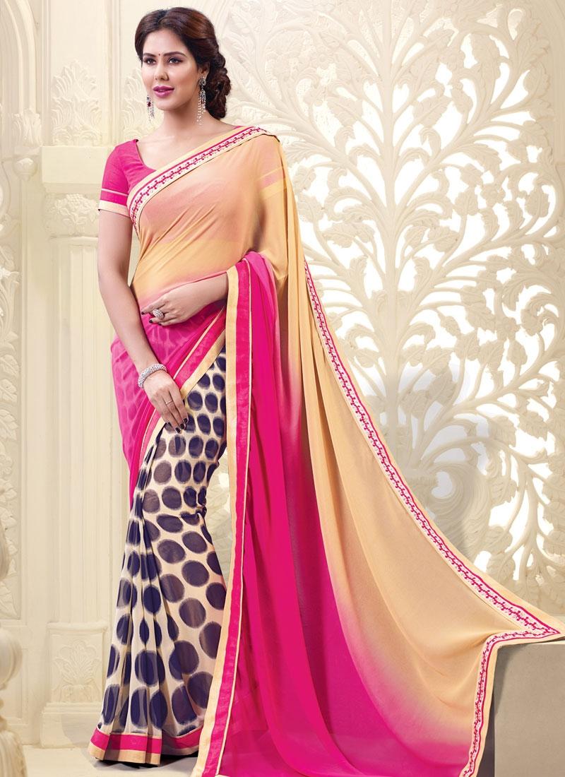 Distinctively Rose Pink Color Half N Half Casual Saree